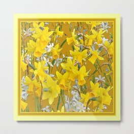 Mustard Yellow Art Golden Daffodils Garden Design Metal Print