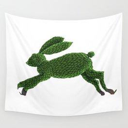 Green Topiary Rabbit Wall Tapestry