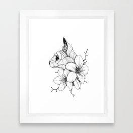 Sphynx cat & Sakura Blossoms Framed Art Print