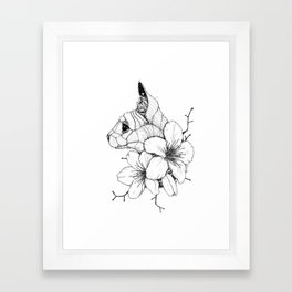 Sphynx cat & Sakura Blossoms Framed Art Print