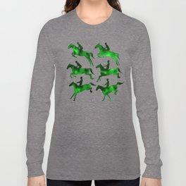 Watercolor Showjumping Horses (Green) Long Sleeve T-shirt
