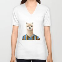 alpaca V-neck T-shirts featuring Alpaca by Jenna Caire