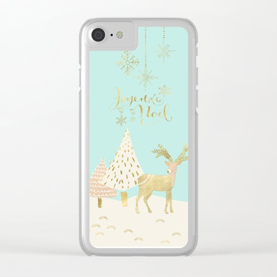 Merry christmas- gold deer - and xmas wishes on aqua backround Clear iPhone Case