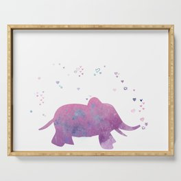 Love is in the air - Elephant animal watercolor illustration Serving Tray