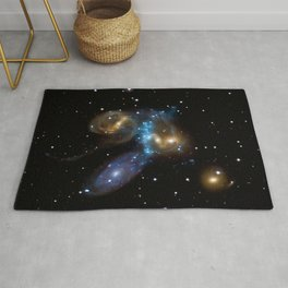 Stephan's Quintet of Five Galaxies in Constellation Pegasus Deep Space Telescopic Photograph Rug