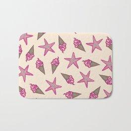 Girly Pink Summer Starfish and Ice Cream Cones Bath Mat