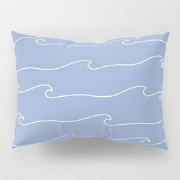 Waves & Lines - Pattern - White & Light Blue Pillow Sham
