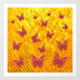 MODERN YELLOW MONARCH BUTTERFLIES ABSTRACT Art Print