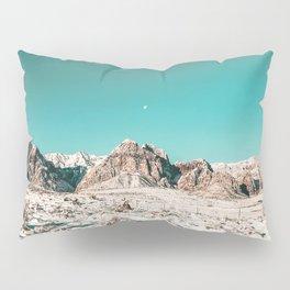 Vintage Picture Desert Snow // Winter Teal Blue Sky Red Rock Canyon Wilderness Park Photograph Pillow Sham