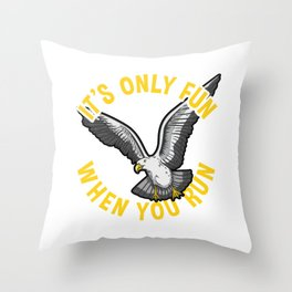 Crazy Seagull design for bird and sea lovers Throw Pillow