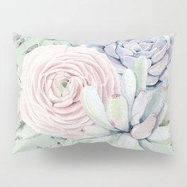 Mint Green + Pink Delight Succulents Pillow Sham