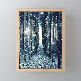 Magical Forest Teal Gray Elegance Framed Mini Art Print
