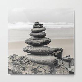 Zen Like Stone Tower At A Portuguese Beach Land Art Metal Print