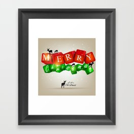 Merry Christmas 3D with Deers Framed Art Print