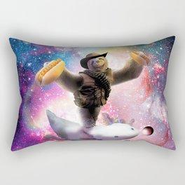 Cowboy Space Sloth Riding Axolotl - Hotdog Rectangular Pillow