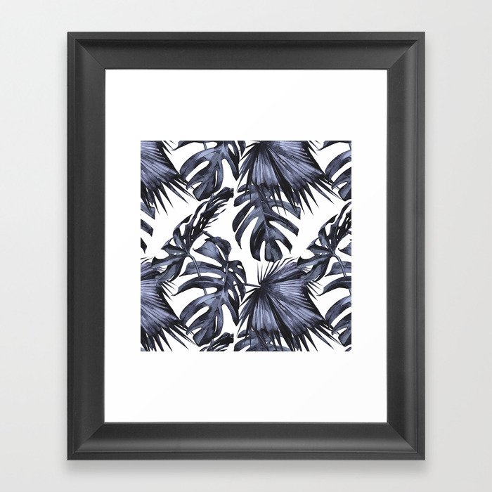Classic Palm Leaves Navy Blue Gerahmter Kunstdruck
