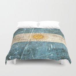 Vintage Aged and Scratched Argentine Flag Duvet Cover