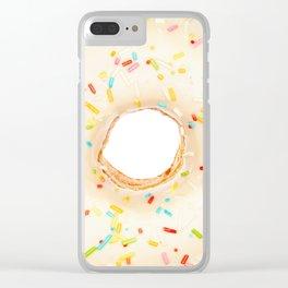 Overfill white chocolate doughnut Clear iPhone Case