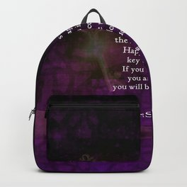Happiness Is The Key To Success Uplifting Inspirational Quote Backpack