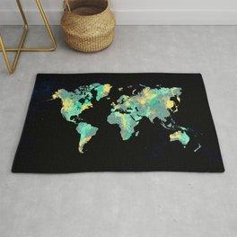 world map 87 green blue Rug