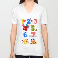 numbers V-neck T-shirts featuring numbers by Alapapaju
