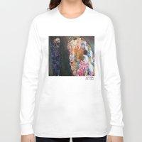 gustav klimt Long Sleeve T-shirts featuring Death and Life by Gustav Klimt by cvrcak