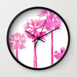Tropical Pink Palms Wall Clock