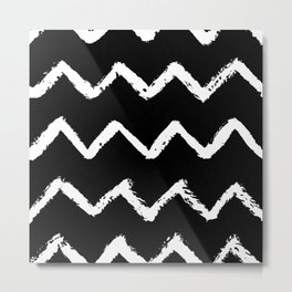Chevron Stripes White on Black Metal Print