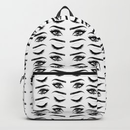 Eyes with long eyelashes and brows Backpack