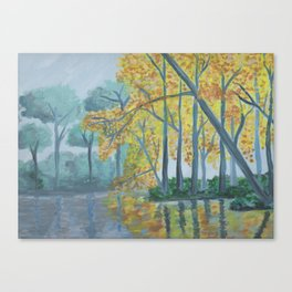 Spring Trees Reflecting Over Lake Canvas Print