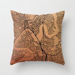 Brisbane map Throw Pillow