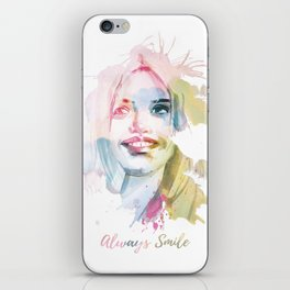 Always smile! Hand-painted portrait of a woman in watercolor. iPhone Skin