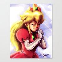princess peach Canvas Prints featuring Princess Peach by markclarkii