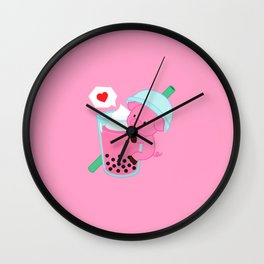 Pig with Pink Bubble Tea Wall Clock