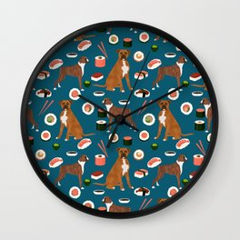Boxer dog pattern sushi dog lover pet portraits boxers dog breed by pet friendly Wall Clock
