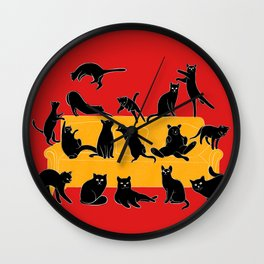 Cute Black Cats on the Sofa | Red Wall Clock