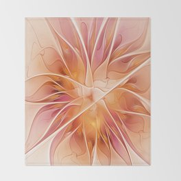 Floral Impression, Abstract Fractal Art Throw Blanket