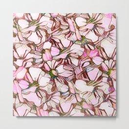 pink abstract daisies Metal Print
