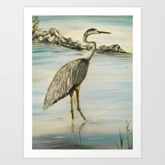 Great Blue Heron in Oil Art Print
