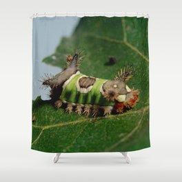 Caterpillar Eating a Leaf Shower Curtain