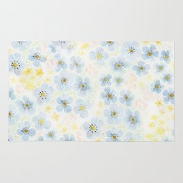 Blue Fields. Fictional Flowers. Rug