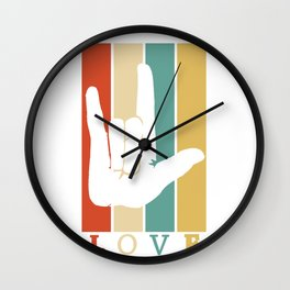 ASL Love Vintage Retro design Sign Language design Wall Clock
