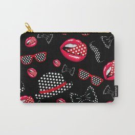 lip hat Vector hipster example image star sexy black red Carry-All Pouch