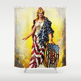Vintage 1896 Columbia Brewing Company Lithograph Wall Art Shower Curtain