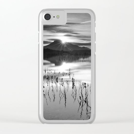 Calm At The Lake. At sunset.. Bw Clear iPhone Case