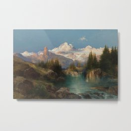 Snow-capped Rocky Mountains landscape painting by Thomas Moran Metal Print