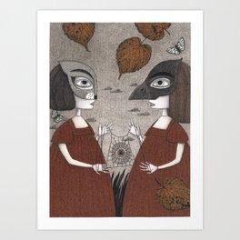 Ana and Eva (An All Hallows' Eve Tale) Art Print