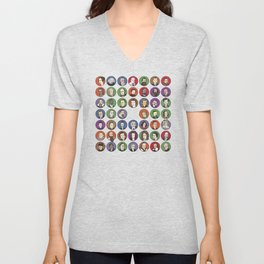 Portraits of Important Scientists Unisex V-Neck