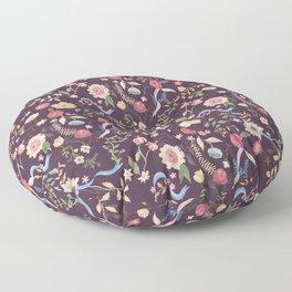 Purple Chintz Floral Floor Pillow