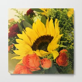 Bright Yellow Sunflower and Red Roses Bouquet Metal Print